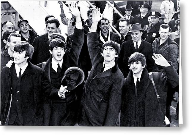 Frenzy Greeting Cards - The Beatles Land in America - 1964 Greeting Card by Mountain Dreams