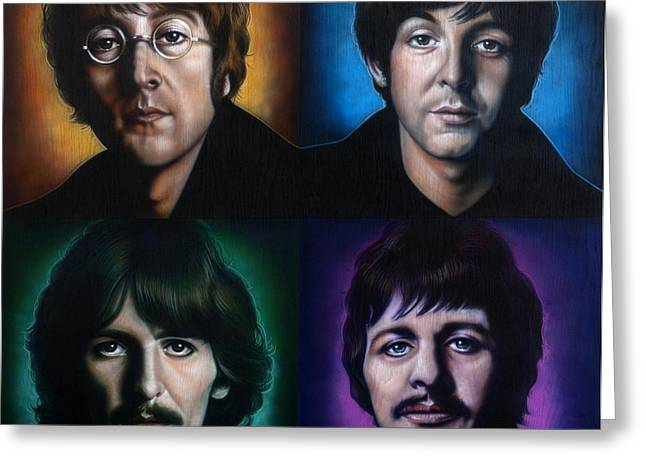 Beatles John Lennon Paul Mccartney George Harrison Ringo Starr Music Rock Icon Greeting Cards - The Beatles Greeting Card by Tim  Scoggins