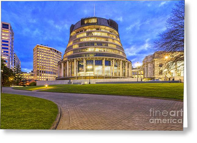 Beehive Greeting Cards - The Beehive Wellington New Zealand Greeting Card by Colin and Linda McKie