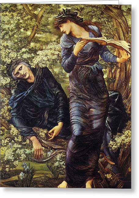 Woman Of The Forest Greeting Cards - The Beguiling Of Merlin Greeting Card by Edward Burne Jones