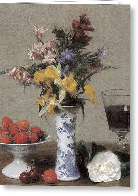 Bowl Of Flowers Greeting Cards - The Betrothal Still Life Greeting Card by Henri Fantin-Latour