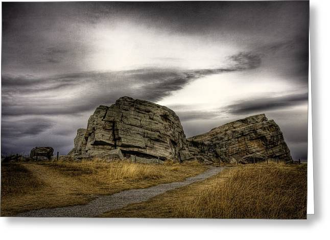 Alberta Foothills Landscape Greeting Cards - The Big Rock near Okotoks Greeting Card by Sean Phillips