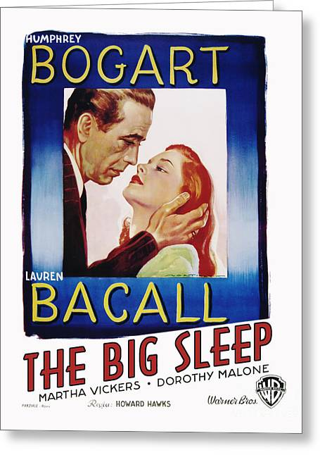 Classic Hollywood Photographs Greeting Cards - The Big Sleep Movie Poster Bogart Bacall Greeting Card by MMG Archive Prints