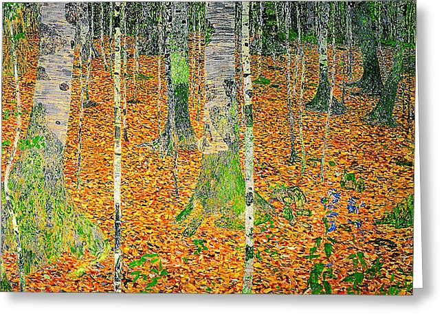 Klimt; Gustav (1862-1918) Greeting Cards - The Birch Wood Greeting Card by Celestial Images