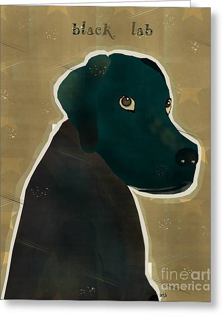 Canine Posters Greeting Cards - The Black Lab  Greeting Card by Bri Buckley