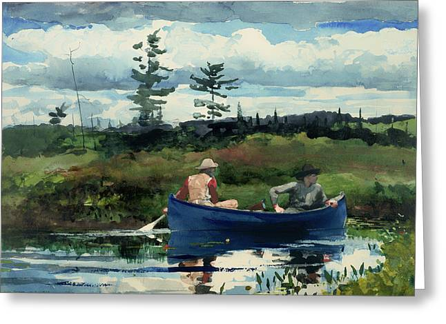 Fishing Creek Greeting Cards - The Blue Boat Greeting Card by Winslow Homer