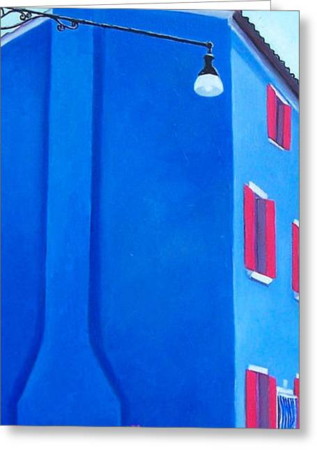 Naive Art Greeting Cards - The Blue House Burano Greeting Card by Jan Matson