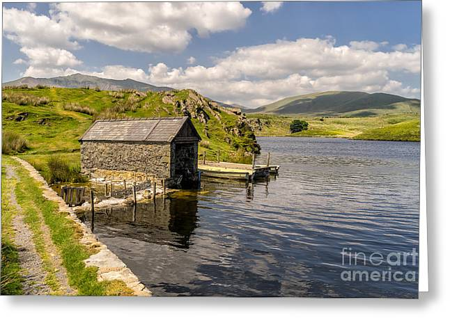 Snowdon Greeting Cards - The Boathouse Greeting Card by Adrian Evans