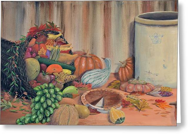 Cornucopia Paintings Greeting Cards - The Bounty Greeting Card by William Stewart