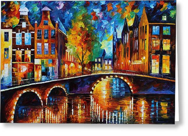 The Bridges Of Amsterdam Greeting Card by Leonid Afremov