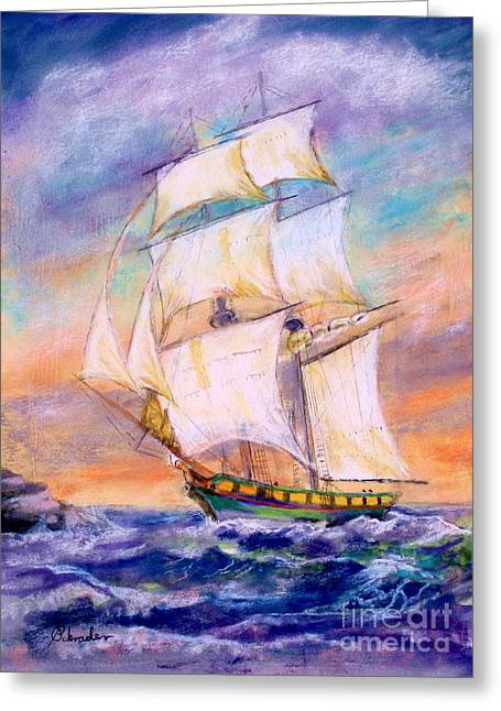 Etc. Pastels Greeting Cards - The Brig Greeting Card by Bruce Schrader