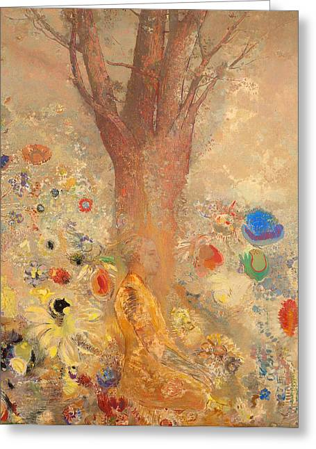 Religious Artwork Paintings Greeting Cards - The Buddha Greeting Card by Odilon Redon