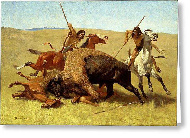 The Horse Greeting Cards - The Buffalo Hunt Greeting Card by Frederic Remington