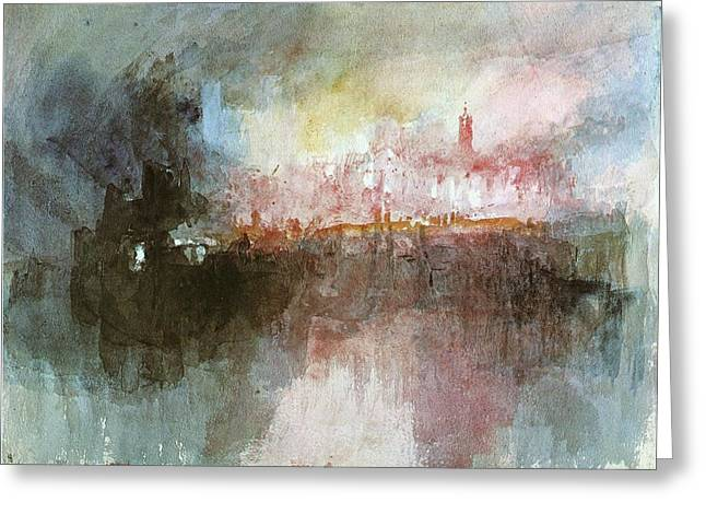 Jmw Greeting Cards - The Burning of the Houses of Parliament Greeting Card by Joseph Mallord William Turner