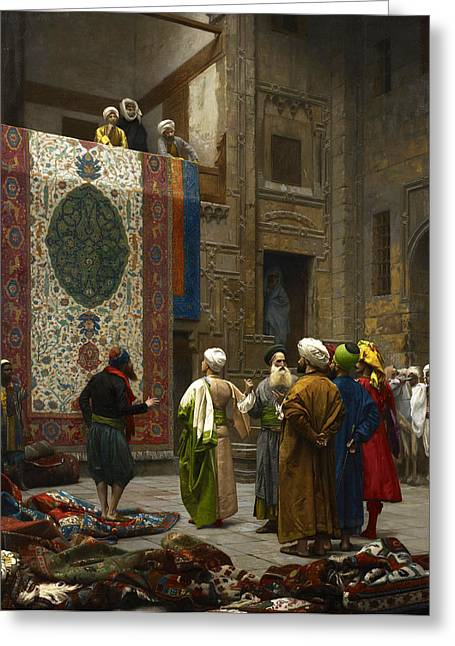 Jean Leon Gerome Greeting Cards - The Carpet Merchant Greeting Card by Jean-Leon Gerome