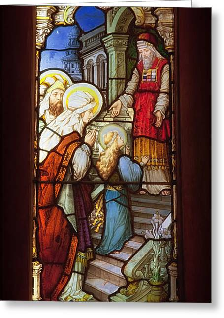 Stained Glass Glass Greeting Cards - The Cathedral of the Immaculate Conception - Mobile Alabama Greeting Card by Mountain Dreams