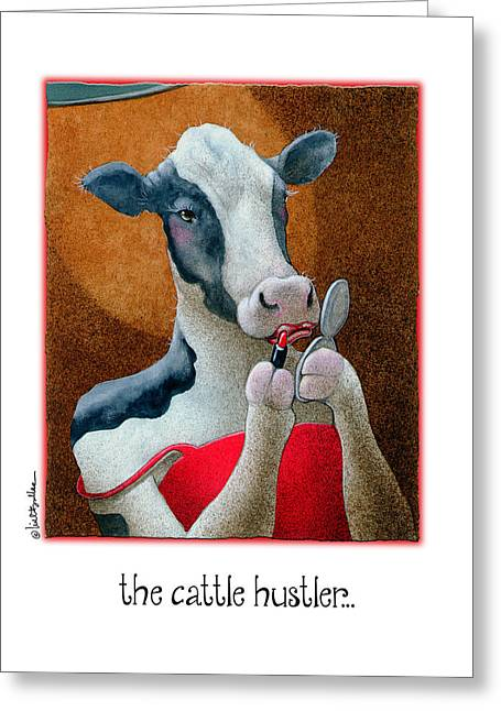 Black And White Cow Greeting Cards - The Cattle Hustler... Greeting Card by Will Bullas