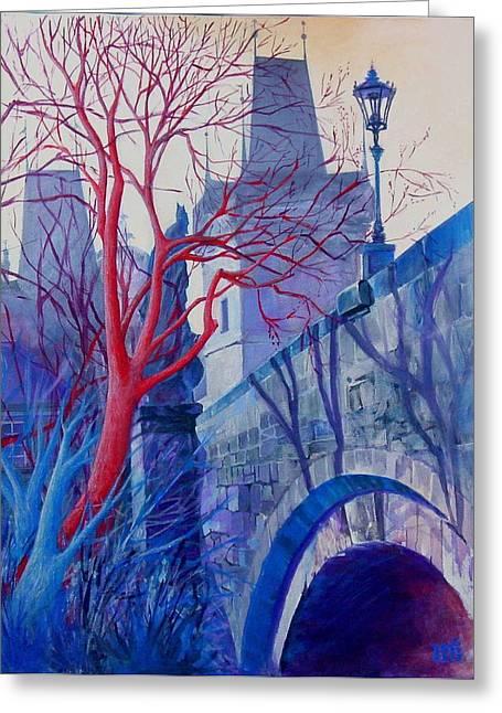 Prague Paintings Greeting Cards - The Charles Bridge Blues Greeting Card by Marina Gnetetsky