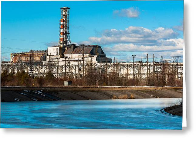 Power Plants Pyrography Greeting Cards - The Chernobyl Nuclear Pwer Plant 2012 March 14 Greeting Card by Oliver Sved