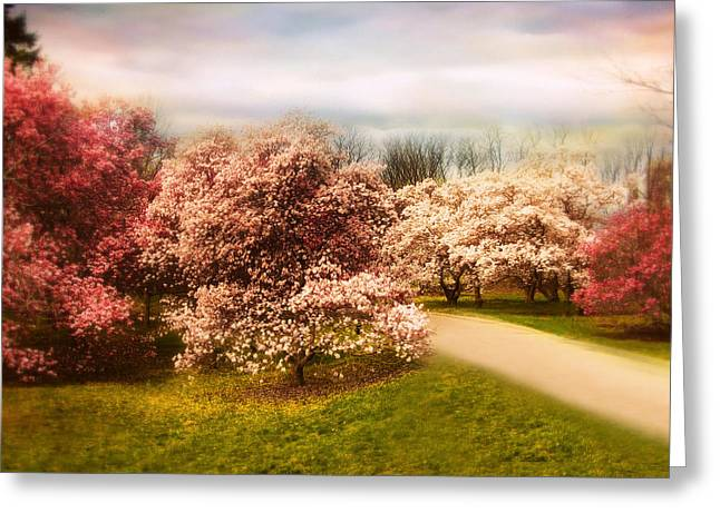 Pink Blossoms Digital Greeting Cards - The Cherry Orchard Greeting Card by Jessica Jenney
