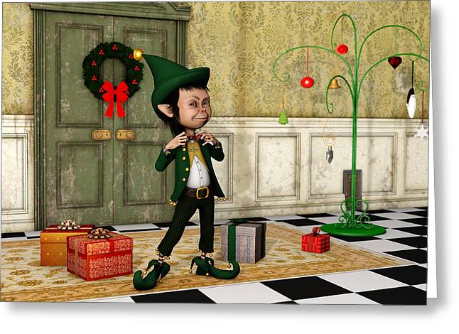 Elf Greeting Cards - The Christmas Elf Greeting Card by Liam Liberty
