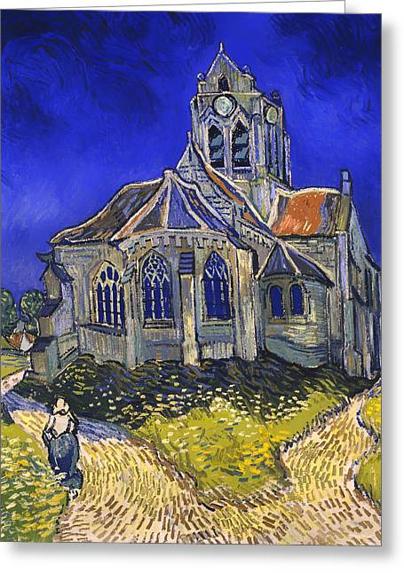 Religious work Paintings Greeting Cards - The Church in Auvers-sur-Oise Greeting Card by Vincent van Gogh