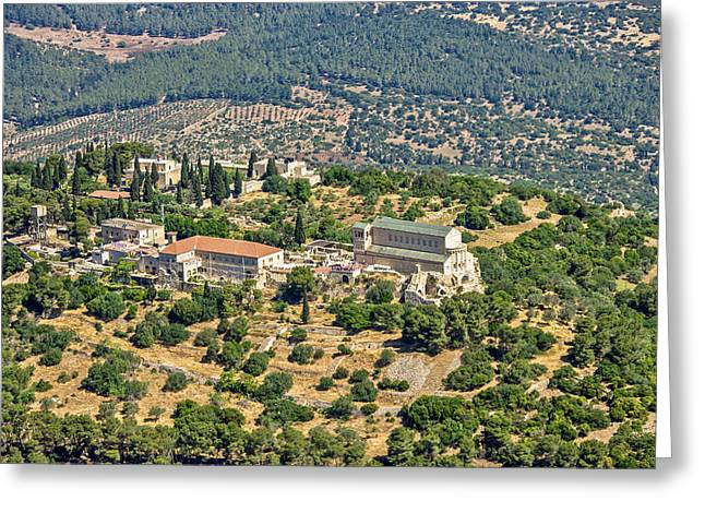 Har Greeting Cards - The Church On Mount Tabor Greeting Card by Ofir Ben Tov