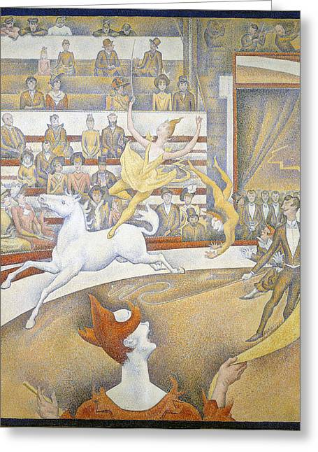 Seurat Greeting Cards - The Circus Greeting Card by Georges Seurat