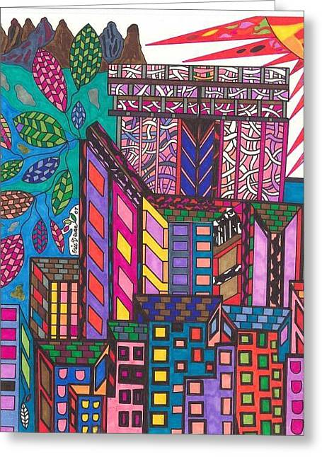 City Art Greeting Cards - The City That Never Sleeps Greeting Card by Maverick Arts