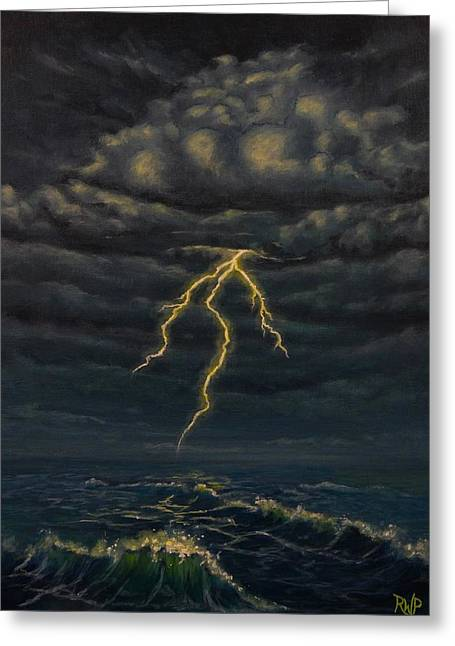 Lightning Strike Paintings Greeting Cards - The Coming Storm Greeting Card by Randy Powers