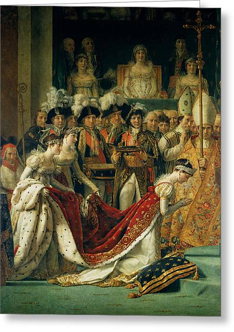Knelt Photographs Greeting Cards - The Consecration Of The Emperor Napoleon 1769-1821 And The Coronation Of The Empress Josephine Greeting Card by Jacques Louis David