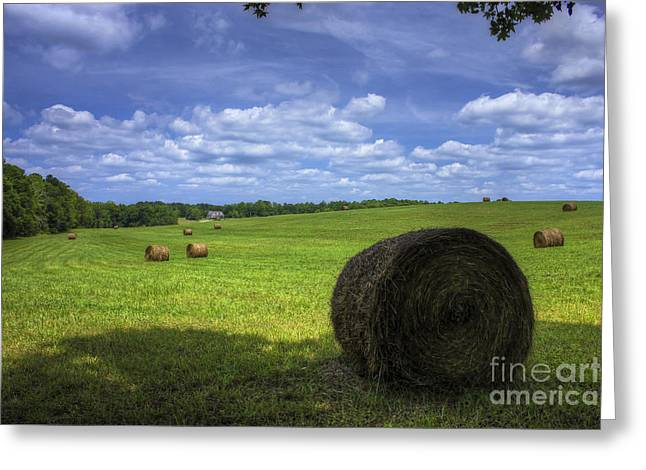 Red Roofed Barn Greeting Cards - The Country House Hayfield Greeting Card by Reid Callaway