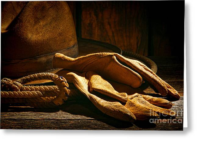 Wooden Barns Greeting Cards - The Cowboy Gloves Greeting Card by Olivier Le Queinec