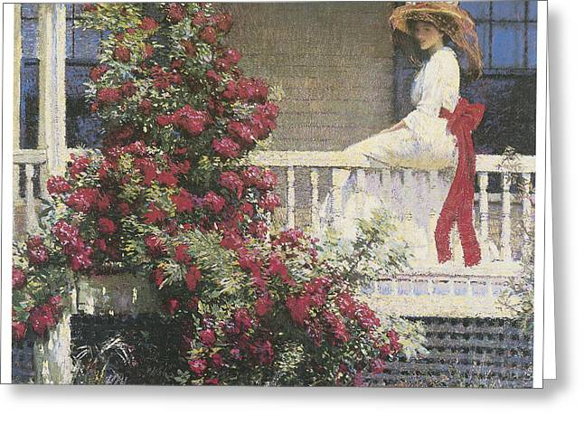 Woman In A Dress Greeting Cards - The Crimson Rambler Greeting Card by Philip Leslie Hale