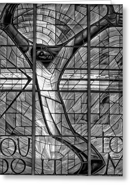 Jesus Glass Art Greeting Cards - The Crucifixion  Greeting Card by Mountain Dreams