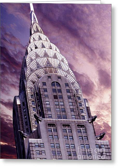 Nyc Mixed Media Greeting Cards - The Crysler Building Greeting Card by Jon Neidert