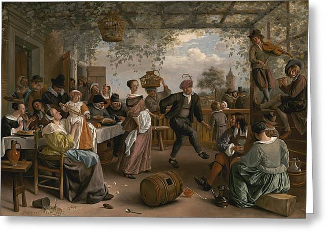 Steen Greeting Cards - The Dancing Couple Greeting Card by Jan Steen