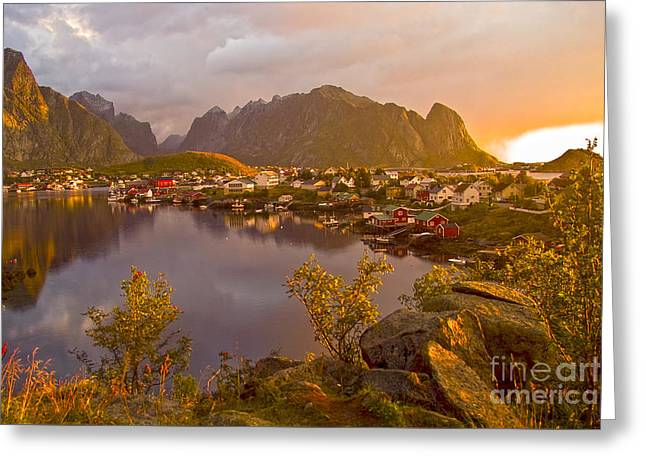 The Day Begins In Reine Greeting Card by Heiko Koehrer-Wagner