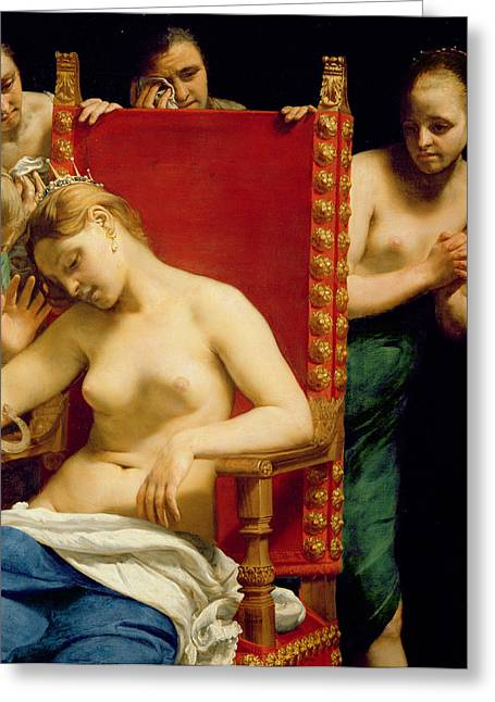 Announcement Greeting Cards - The Death of Cleopatra  Greeting Card by Guido Cagnacci