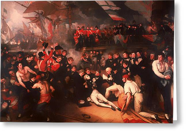 Battle Of Trafalgar Greeting Cards - The Death of Nelson Greeting Card by Benjamin West