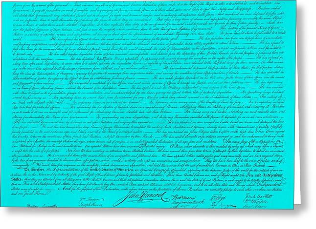 THE DECLARATION OF INDEPENDENCE in TURQUOISE Greeting Card by ROB HANS