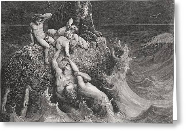 The Deluge Greeting Card by Gustave Dore