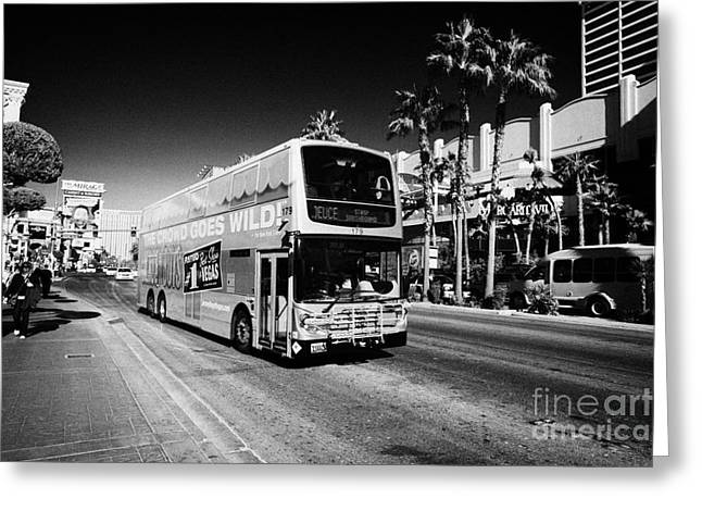 Deuce Greeting Cards - the deuce double deck bus on the Las Vegas strip Nevada USA Greeting Card by Joe Fox