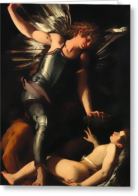 Earthly Greeting Cards - The Divine Eros Defeats the Earthly Eros Greeting Card by Giovanni Baglione