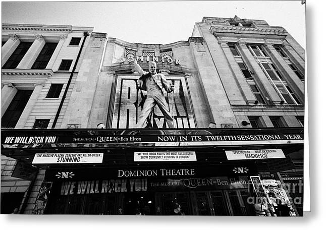 Dominion Greeting Cards - the dominion theatre with we will rock you freddie mercury statue London England UK Greeting Card by Joe Fox
