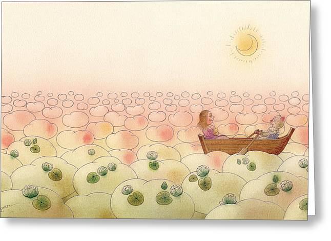 Sky Drawings Greeting Cards - The Dream Cat 28 Greeting Card by Kestutis Kasparavicius