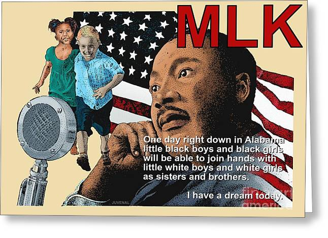 Martin Luther King Mixed Media Greeting Cards - The Dream Speech Greeting Card by Joseph Juvenal