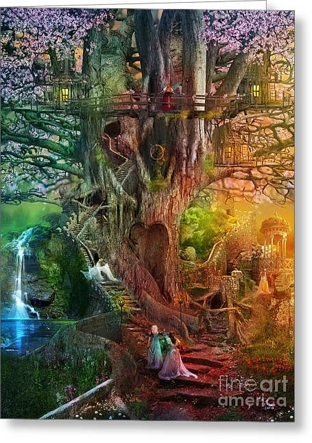 Bizarre Digital Art Greeting Cards - The Dreaming Tree Greeting Card by Aimee Stewart