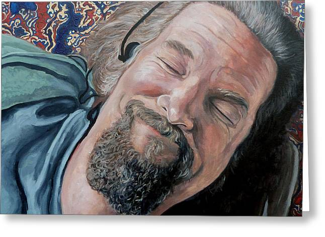 Celebrity Portrait Greeting Cards - The Dude Greeting Card by Tom Roderick