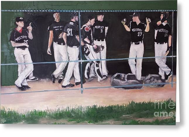 Baseball Uniform Paintings Greeting Cards - The Dugout Cardines Field Greeting Card by Rosemary Kavanagh